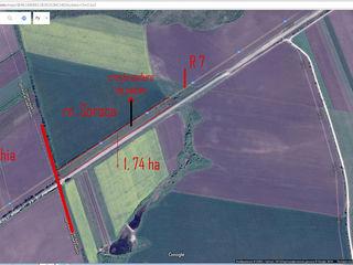 Vind pămînt la hotare dintre rn Soroc si rn. Drochia 1,74 ha