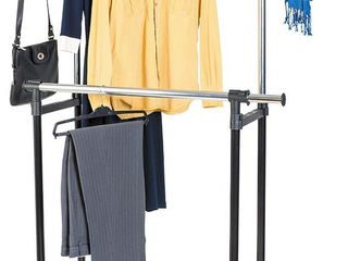 Телескопическая двойная стойка-вешалка для одежды и обуви. Доставка