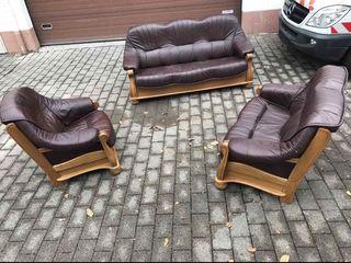Мебель из германии кожаный набор- диван в натуральном дереве!!!