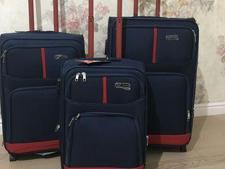 Новые высококачественные чемоданы из текстиля.Большие встроенные колеса! Польша!Бесплатная доставка!