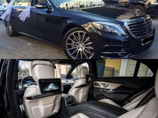 Мерседес w222 150€/день белый-чёрный авто на свадьбу с водителям