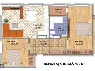 Apartament de vânzare, Chișinău, sec. Telecentru, bloc nou, 2 odăi cu living și garaj, 77 m2, et.4