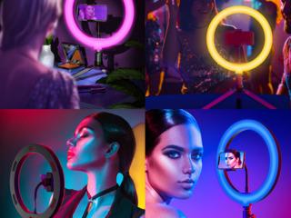 Разноцветная кольцевая лампа RGB MJ26 26+держателем + штативом+1 лампа в подарок/Lampa inelara+cadou