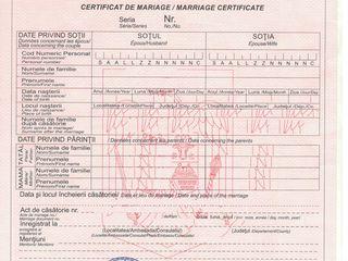 Înregistrarea actului de divorţ în temeiul hotărîrii judecătoreşti