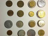 62 Monede vechi. Diferite țări: Franța, Germania, Belgia, SUA, Italia,
