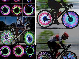 32 LED 32 режим ночного Водонепроницаемый колеса Сигнальные лампы Светоотражающие Обода Радуга шин