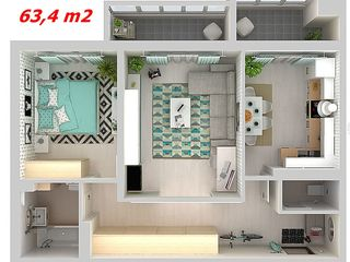 Buiucani, 550 euro/ m2 de la dezvoltator, bloc nou, 2 cam, 63 - 65 m2 , zonă de parc