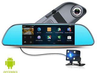 Видео регистратор зеркало с камерой заднего вида , навигатор , сенсор 7 inch , WiFi , 3G , Android