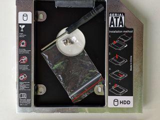 HDD Caddy адаптер Sata to Sata 12,7 - 9.5mm. Адаптер USB to DVDrom mini SATA.