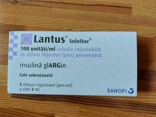 Insulina- Инсулин Lantus. Упаковка из 5 ручек стоит 500 лей