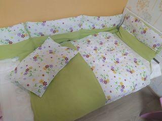 Бортики для кроватки + постельное белье. Protectie laterala + lenjerie de pat