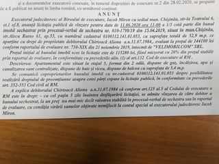 Licitatie de vinzare imobil 115280 lei