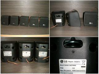 LG колонки 5.0 с акустическим кабелем + Dialog колонки из дерева 5.0 + Сабвуфер Samsung 100 Вт.