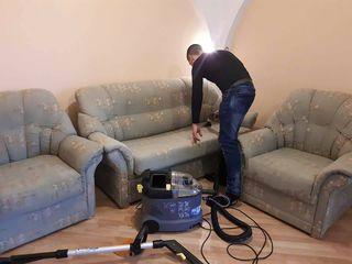 Curatarea mobilierului moale : canapele, saltele, scaune.Curatarea covoarelor la sediul clientului
