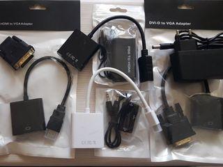Переходники: DVD-D, Mini DP, DP (DisplayPort), HDMI to VGA, DVI-D/ PS2 & Wii to HDMI. Адаптер 12V-1A