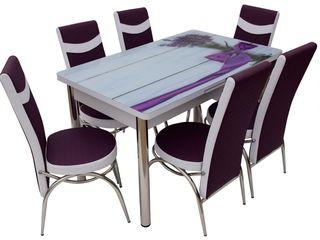 Set masă și scaune mg-plus kelebek lavanda (6 scaune) în credit,preț redus,livrare gratuită !