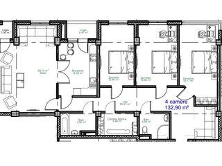 3 camere, 132 m2, sec. Rîșcani, Zonă de Parc. Oferim Ipoteca direct de la compania de construcții