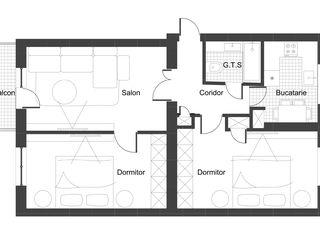 Apartament 3 camere, area 66.1 m2, et.2, or. Orhei, r. Nordic, str. Boris Glavan 11.