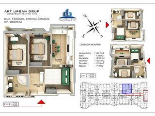 2 camere+living 72m2, Variantă albă , Mijloc , Ultimile apartamente direct de la constructor !!!