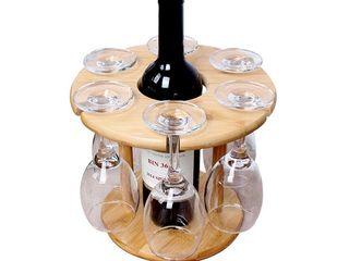 Suport din lemn pentru 6 pahare și o sticlă