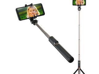 Triped si selfie stick portabil, cu declansator inclus!