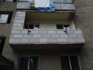 Renovarea și extinderea balcoanelor și loggii. Zidire din gazobloc. Alungirea balconului, demolarea