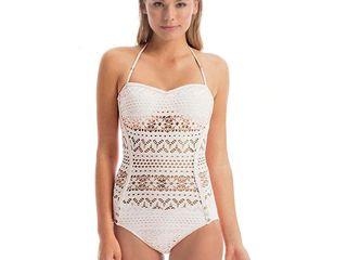 Новые: красивый ажурный белоснежный купальник размер L-XL, бело-кремовый размер S