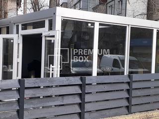 Construcție modulară realizată din 4 module cu destinație cafenea. 10 metri x 5 metri