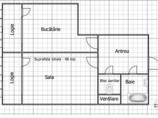 Vinzare apartament cu o odaie bloc nou., Ialoveni., 48 mp