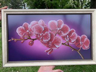 Tablou cu orhidee din biser
