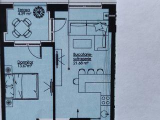 Apartament 1 camera 51,51m2 cu living și terasă