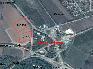 Участок у дороги Стэвчены  m2  La traseu,  chisinau-orhei ! 2,7 ha  3 km de chisinau! 1000  euro