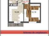 Apartament cu 1 odaie (32,77 m2) in rate! Prima rata=4 300 euro! Restul  cite 300 Euro lunar