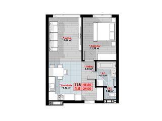 Apartament 1 cameră, 45,50 mp, 650 €/mp