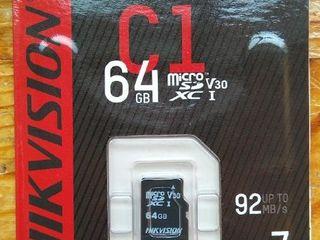 Micro SD Hikvision 64 Gb - 150 lei, 128 GB - 300 lei