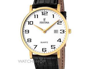 Швеицарские мужские позолоченные часы Festina новые в упаковке на гарантии