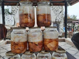 Carne de porc și pește preparat în avtoclav 100% natural fără conservanți