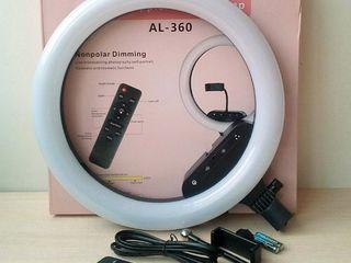 Кольцевая LED-лампа AL-360  36см, с держателем для смартфона/Lampa inelara AL-360 36cm +stativ