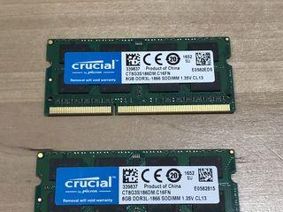 Crucial 16GB (8GBx2) DDR3/DDR3L 1866 MT/s (PC3-14900) SODIMM 204-Pin Memory For Mac