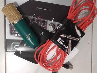 Комплект для студийной записи вокала(Аудио карта+Микрофон+Провод+Лицензия на программу Ableton Live9