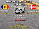 Transport Moldova-Danemarca. (Germania, Gehia, Slovacia, Ungaria, Romania) Ruta directa, saptaminal.
