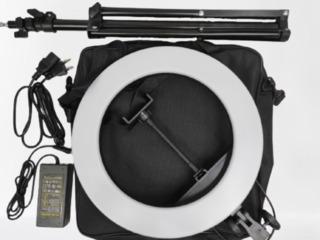 Мощная Кольцевая LEDлампа HQ-14'Рекомендуется для салонов красоты Компактная/Стильная+1лампа подарок
