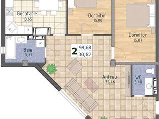 Ap. 2 odăi+ living, 100 m2, 670€/ mp. Casă dată în exploatare!!!