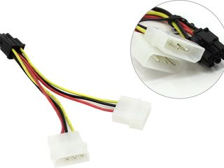 Кабель-переходник дополнительного питания видеокарты Molex 4Pin(2x) -> PCI-e 6Pin =25лей