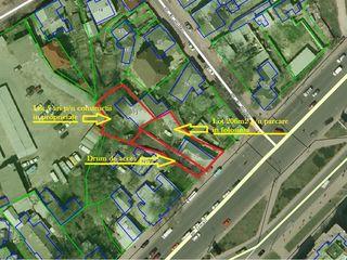 Centru, str. Ismail, teren p/u construcții 5 ari + 206 m2 parcare, prima linie, toate comunicațiile!