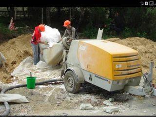 Steajca cu amestec uscat (beton uscat) cu pompa Putzmeister, cu efectuarea lucrărilor calitative