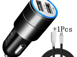 12/24v автомобиля зарядное устройство 5v 2.4A max USB кабель 1 м