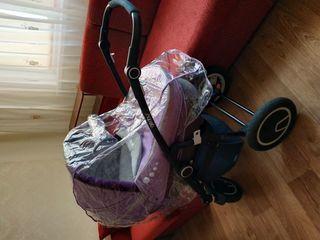Красивая колясочка geoby 2 в 1 как новая! материал лён!