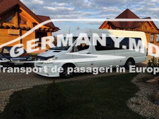 Germaniei, Belgia, Olanda, Austria, Cehia, Slovacia, Luxemburg, Elvetia.  Zilnic.Transport persoane.