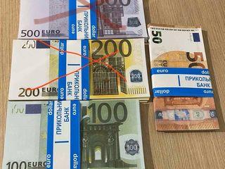 Сувенирные деньги В пачке 80купюр 50€ 100€ 100$ 200 гривен по 50лей 500 гривен по 50лей
